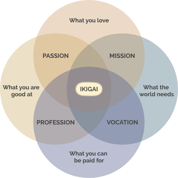 A Venn diagram showing the components of Ikigai